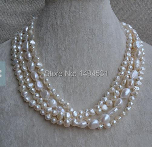 Wholesale Pearl Necklace, 18 Inches 4 Rows White Color Baroque Shape Genuine Freshwater Pearl Necklace - Wedding Gift Jewelry.