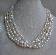 Wholesale Pearl Necklace, 18 Inches 4 Rows White Color Baroque Shape Genuine Freshwater Pearl Necklace – Wedding Gift Jewelry.