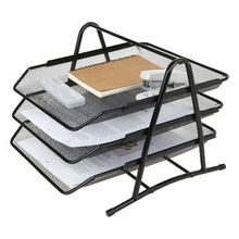 3 Tier Black/Silver Document Tray Metal Mesh Document Rack File Holder Letter Tray for Home Office Desk Organizer Supplies