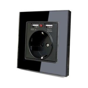 Image 4 - 86*86mm Glas Panel EU Steckdose mit 2,1 EINE 2 USB Lade Ports, 16A 2100mA Elektrische Wand Steckdose
