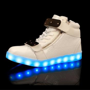 2018 Children lights up LED luminous shoes high top glowing shoes Boys girls USB charging shoes adult men and women LED shoes