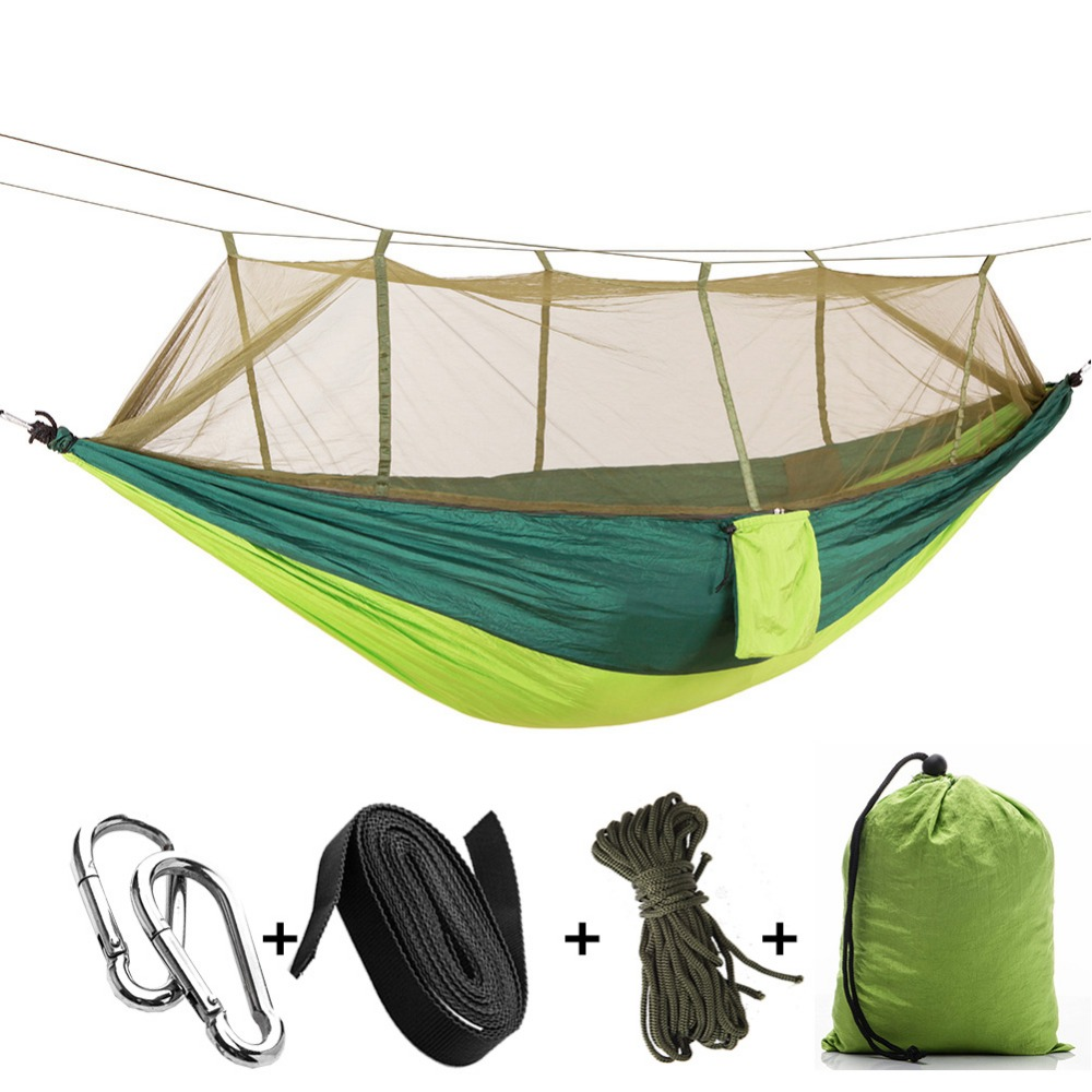 Portable Folding Parachute Hammock Double Person Survival Hunting Mosquito Net Carabiners Travel Outdoor Furniture Hammocks