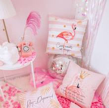 Northern Europe pink small Flamingo pillow ins explosion car sofa cushion decorative pillow, waist