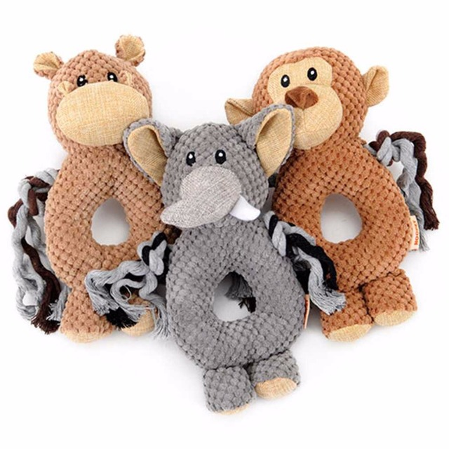 3 Types Pet Dog Voice Small Toy Dogs Cats Toy Monkey/Elephant/Hippo Ring Pet Toys Pet Interactive Educational Toys