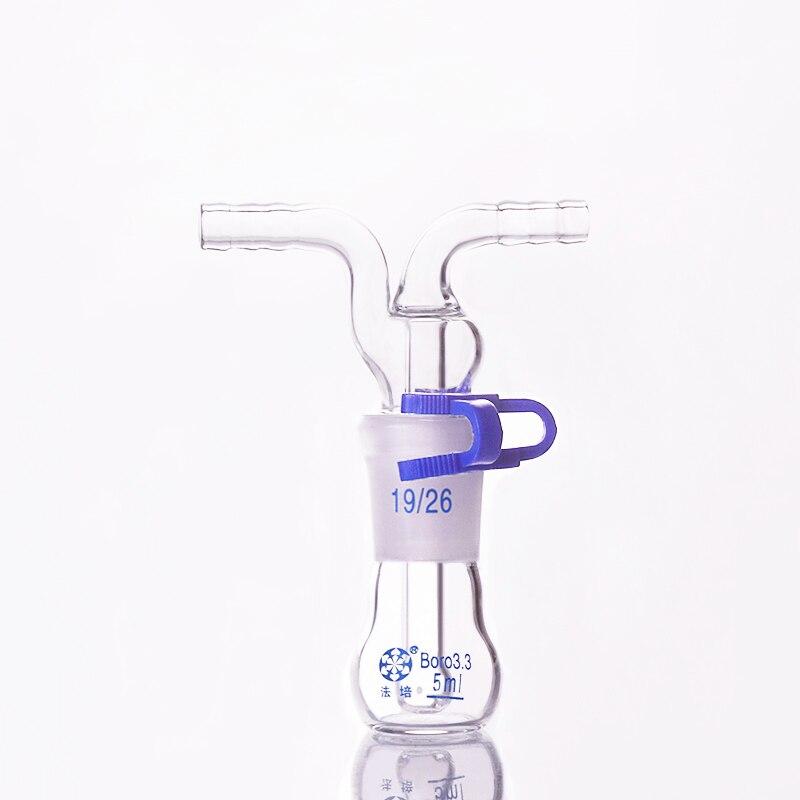 Monteggia Gas Washing Flat-bottom Bottle ,Capacity 5ml,Ground Mouth 19/26,Lab Glass Gas Washing Bottle Muencks,Shisha Hookah