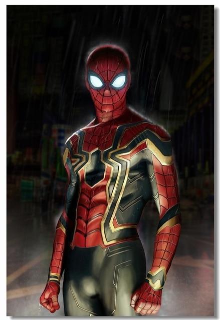 Custom canvas wall mural iron spider armor poster spider - Spider man infinity war wallpaper ...