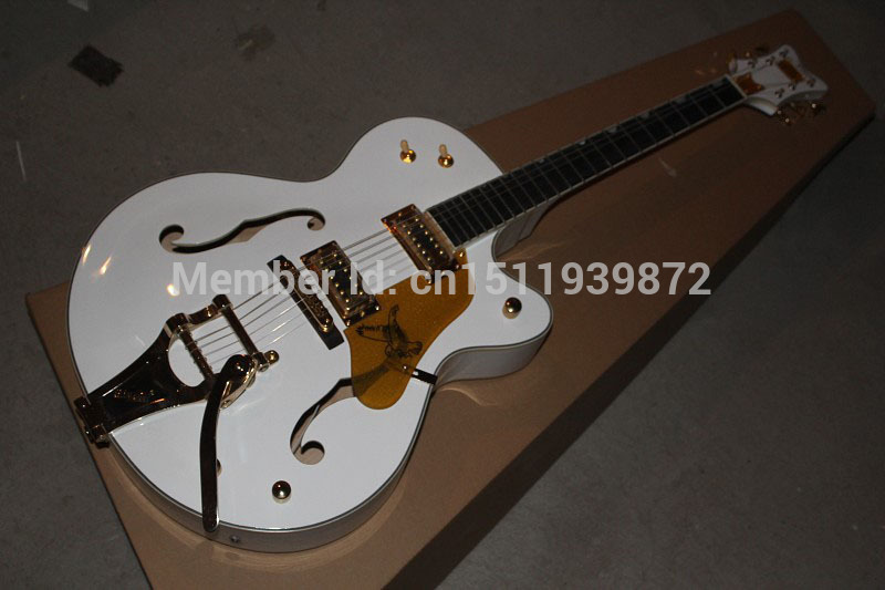 Top New Gretsch Falcon 6120 JAZZ Semi Hollow with Bigsby Tremolo white Electric Guitar In Stock hot sale high quality custom shop nashville gretsch white falcon 6120 hollow body jazz electric guitar with bigsby tremolo