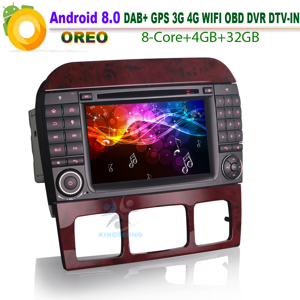 Android 8.0 Car Stereo GPS DAB+ WiFi 3G Radio RDS BT DVD USB SD CD Car Radio for Mercedes Benz S/CL Class W220 W215 S500 CL55