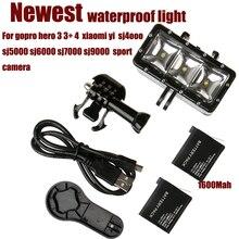 Sj4000 Impermeável LED luz de vídeo flash, Mergulho Submarino lâmpada Luz do flash de Montagem Para GoPro Hero 4/3 +, SJCAM/Xiaomi Yi Acessórios