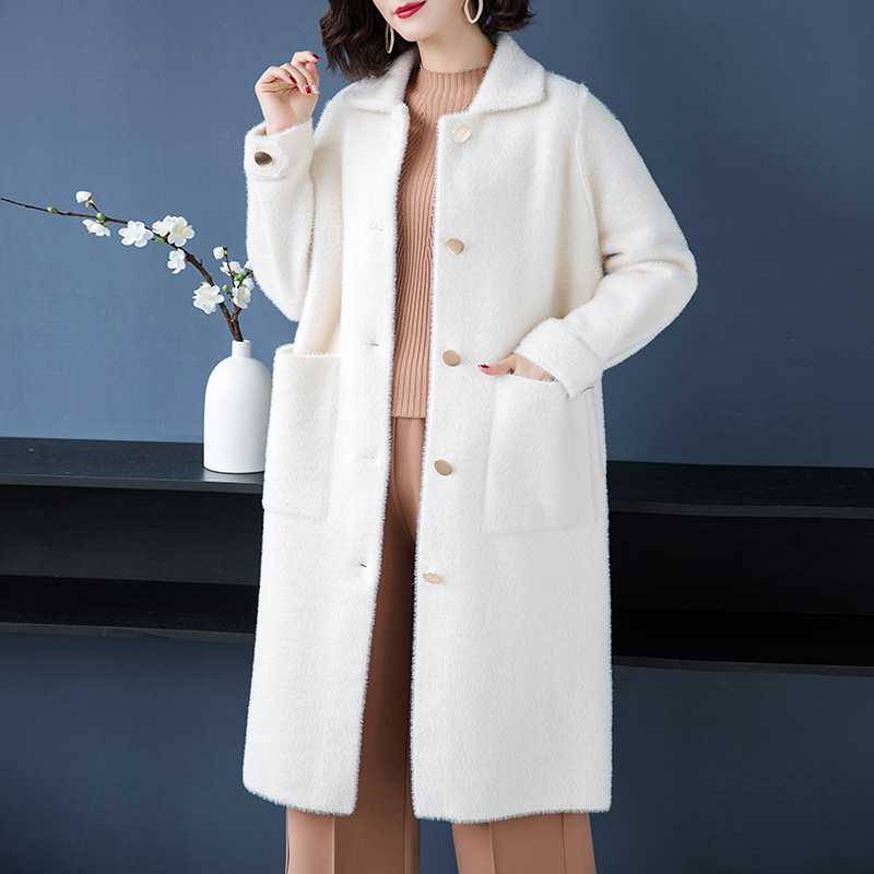 Brand Coat Fall Winter Women Coat New OL Commuter Solid Color Lapel Coat Single Breasted Thicken Warm Loose Long Outerware Women