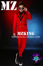 S-5XL! 2017 Men's slim new fashion DJ Double-breasted suit singer costumes formal dress plus size clothing for men