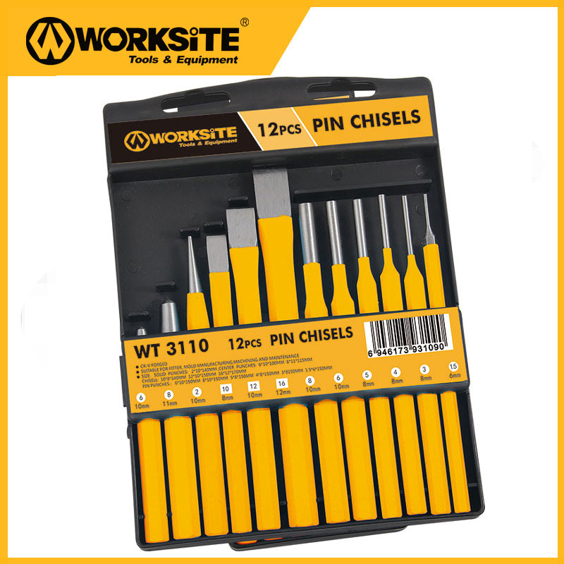 WT3110 12pcs Pin Chisel and Punch Set Center Cold Chunks Solid Set chrome vanadium steel chisel chisel punch 6 piece punching bench chisel combination