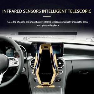 Image 3 - אוטומטי מהדק רכב מטען אלחוטי עם Flowable אור עבור Huawei P30Pro Iphone11 XR XS XS מקס צ י 10W מהיר טעינה מחזיק