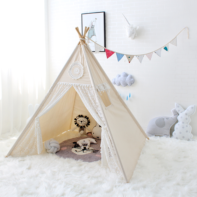 Natural Canvas Floral Lace Girls Princess Teepee Play Tent Tipi Tent for Kids Children red chevron canvas dog tent house pet teepee tipi dog tee pee cat teepee
