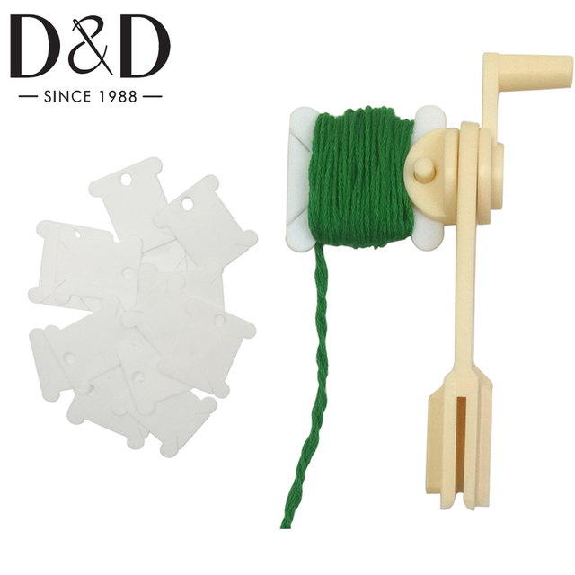 D&D 1pc String Winder and 30pcs Thread Card Embroidery Plastic Thread Bobbins Floss for Storage Holder Winding Stitch Wound