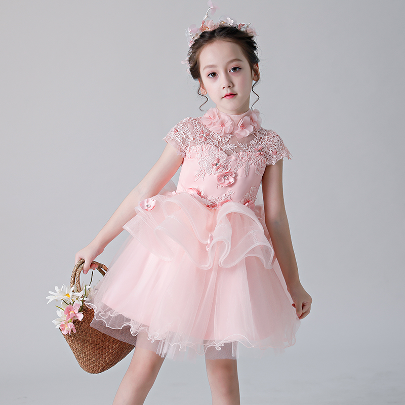 Pink Flower Girl Dresses for Wedding Stand Collar Holy Communion Dress Appliques Layered Princess Dress Ball Gown Evening Dress