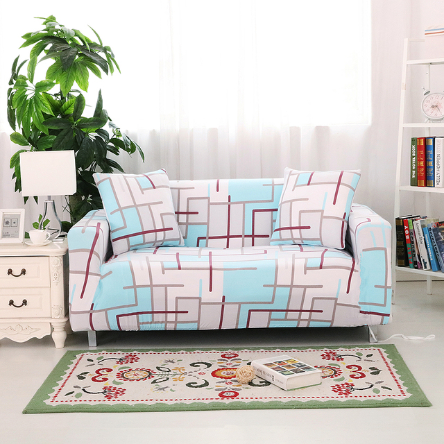 Stretch natural style 3D visual 3 seater sofa cover single double
