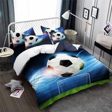 3D Sports Bedding Set Blue Football Print Duvet Cover Set Boys Soccer Ball Bedding Cover King Queen Pillowcase Bedclothes 3Pcs panda bedding duvet cover set digital print 3pcs