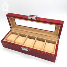 5 Grids Watch Display Box Original Red Leather Watch Storage Boxes Fashion Watch Gift Boxes With Window A028