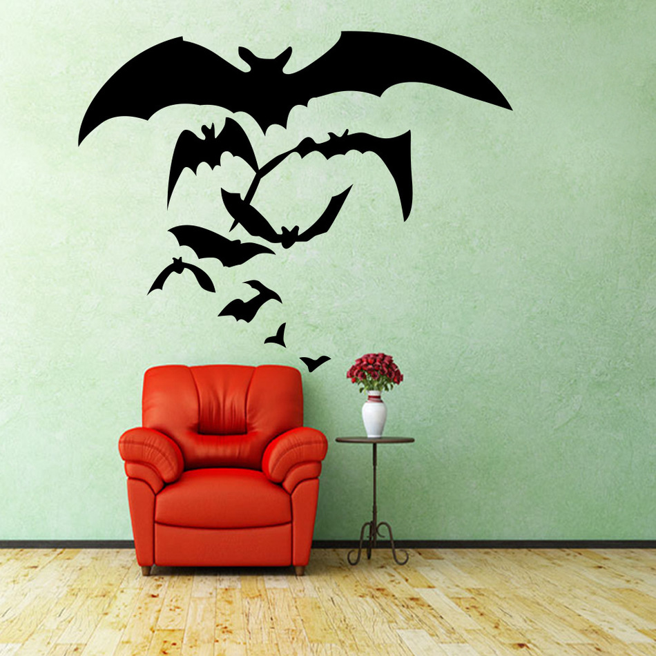 Witches Flying Home Creative Wall Stickers Bats Vinyl Decal Decoration Lower Price