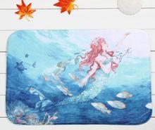 40*60cm Mermaid Bath Mats Anti-Slip Rugs Coral Fleece Water Carpet For Bathroom Bedroom Doormat Online