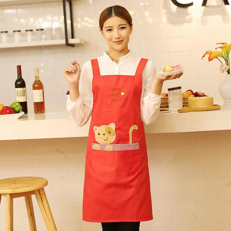 Χωρίς σχοινί αμάνικα μόδας χαριτωμένο ποδιέρα για μαγειρική κουζίνα ψησίματος για ενήλικες Ενηλίκων Εργασία φορούν συνολικά ποδιές print logo