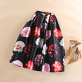 Women Black Flared Tutu Mid-Calf Pleated Tutu Ball Gown Skater Skirts Vintage 3D Blossom Flowers Print Flared Skirt Saias Faldas