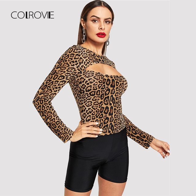 c5ce20bcc1a1 COLROVIE Open Front Leopard Print Fitting Casual T-Shirt Women Clothing  2018 Winter Long Sleeve Sexy Shirt Ladies Tops Tee