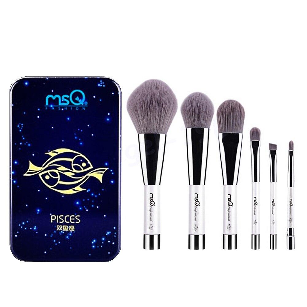 6 Pcs Makeup Kosmetik Serat Arang Bambu Brush Blush Powder Foundation Eye Shadow Alis Bibir Alis Mata Kit dengan Besi Case Pisces-Internasional