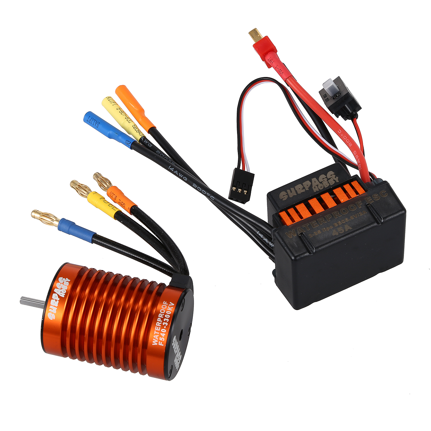 SURPASS HOBBY Waterproof F540 3300KV Brushless Motor with 45A ESC Combo Set for 1/10 RC Car Truck