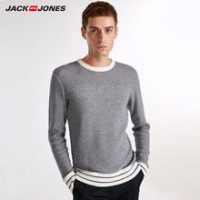 JackJones Men's Winter Contrast Splice Long Sleeve Knitted Top Casual Sweater Men's Slim Fit Brand Knitted Pullovers E|218324509
