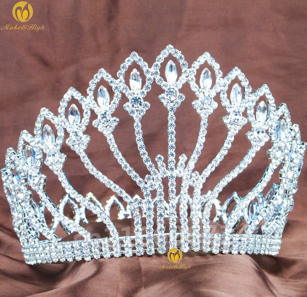 Handmade Large 5 Full Round Crown Clear Rhinestones Queen Diadem Tiaras And Crowns Wedding Pageant Prom
