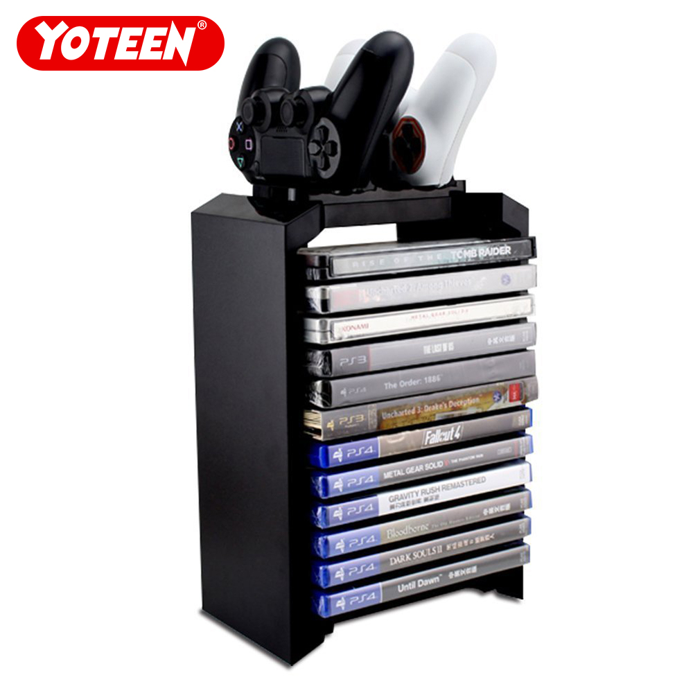 Yoteen for PS4 Game Storage Tower Holder Stand with Dual Charger Dock for Dualshock 4 Controller Console Stand Stores 12 Games
