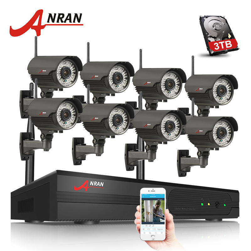 ANRAN Plug And Play 8CH NVR WIFI CCTV System P2P 1080P H.264 HD Zoom 2.8mm-12mm Lens Home Security Wireless IP Camera
