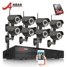 Venta flash Anran Plug and Play 8CH NVR WiFi CCTV sistema P2P 1080 p H.264 HD zoom 2.8mm-12mm lente cámara IP Wireless Home seguridad kit