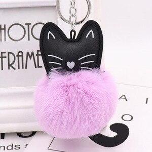 Image 3 - 10 개/몫 여자 패션 쥬얼리 Keychains 솜털 고양이 귀여운 펜 던 트 키 링 여성 가방 자동차 장식