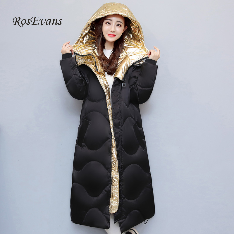 RosEvans Korean Winter Shinny Silver Women's X-long Jacket Coat 2017 Highly Quality Warm Hooded Unisex Overcoat Female B637 wholesale dm32076 80cm x long silver