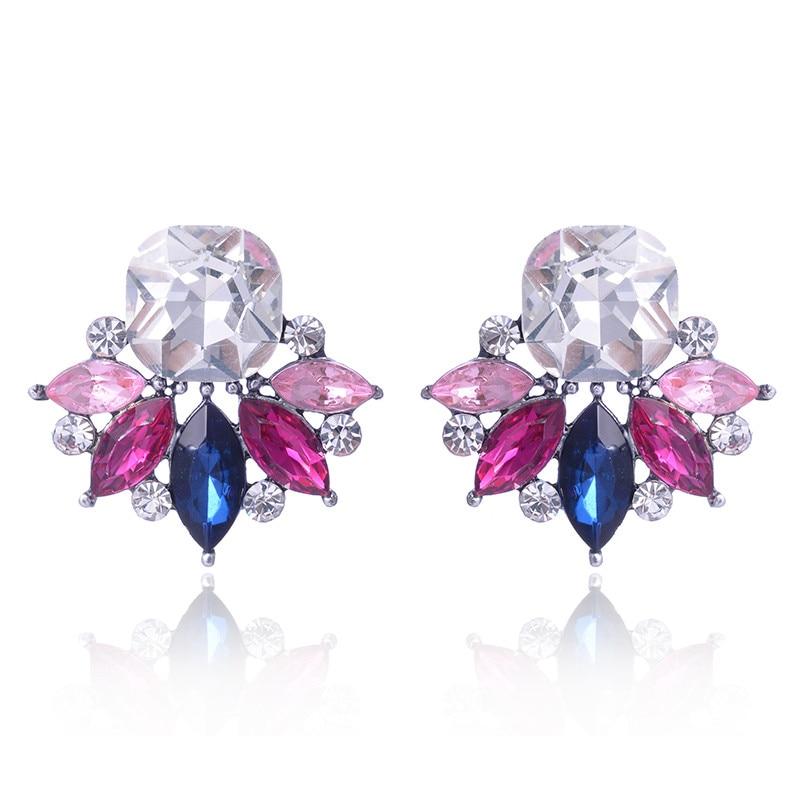 LUBOV Multiple Colors Crystal Flower Stud Earrings Rhinestone Decoration Colorful Crystal Piercing Earrings Women Party Jewelry two tone crystal stud earrings
