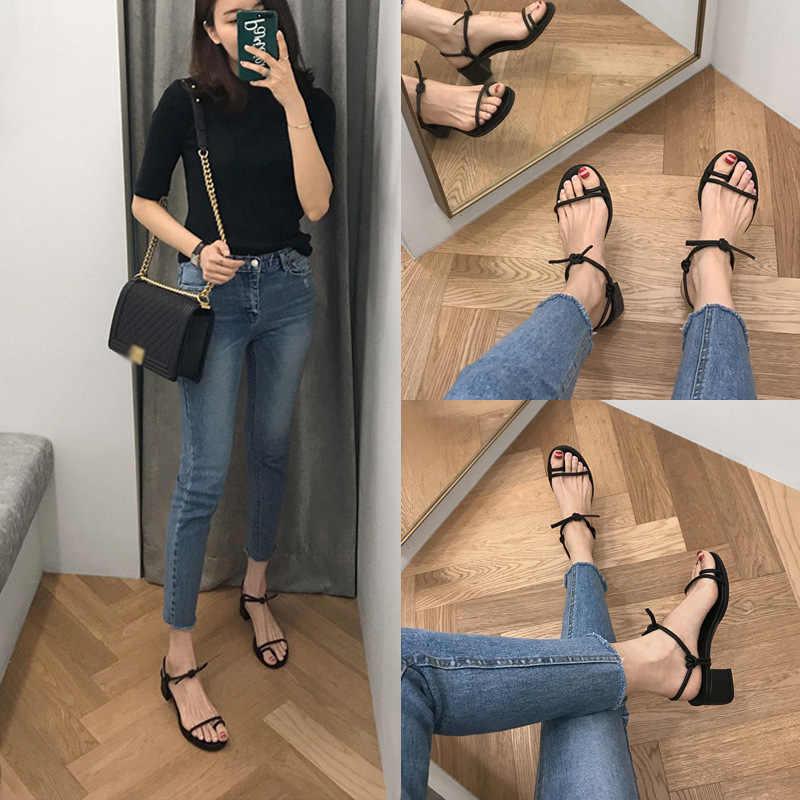 Koreański koronki liny sandały kobiety klip toe kwadratowy obcas teenslipper flipflops krótkie letnie buty gladiator kobieta wąskie paski sandał
