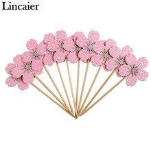 Lincaier 10 Stuks Roze Cherry Blossoms Cupcake Toppers Meisje Verjaardagsfeestje Decoraties Kids Sakura Taart Benodigdheden Accessoires Bloem