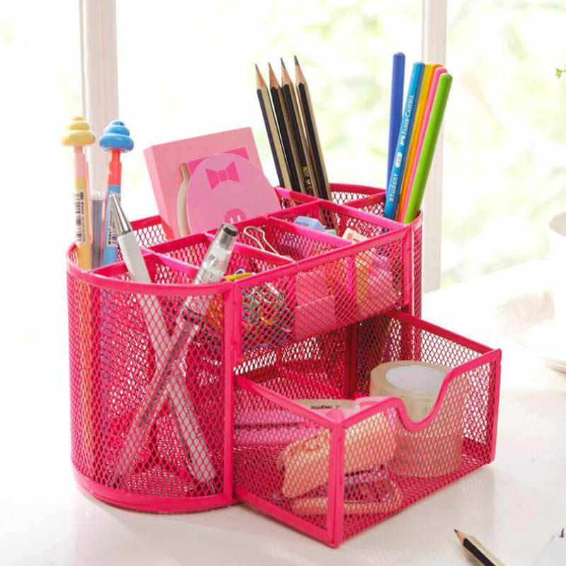9 Cell Metal Desk Organizer Combination Mesh Desktop Pencil Pen Badge Holder Storage Box Stationery Ruler Office School Supplies