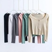 купить Women sexy O-neck Long Sleeve Tops Single Breasted crop Top t-shirts Knit Rib Black white Top Woman autumn slim T shirt по цене 781.79 рублей
