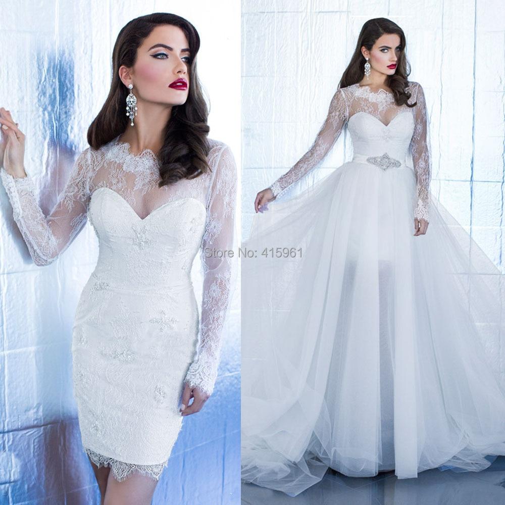 2016 elegant women pure white long sleeve wedding dress short lace bridal gowns sheer sheath with