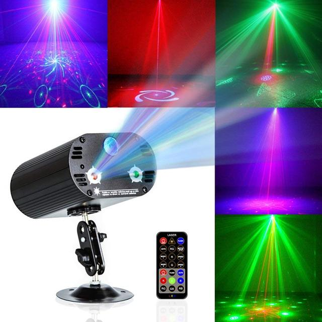 36 Patterns Party Lights RGB 3 Lens Laser Projector Mini LED Strobe Sound Activated DJ Disco Stage Lighting Indoor for Birthday