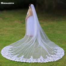 Real Photos 4 Meters Luxury Bling Sequins Lace Long Wedding Veil with Comb One Layer Bridal Veil 4 M Velo de Novia 2019 real photos sparkly sequins lace 3 meters wedding veil with comb one layer 3 m white ivory bridal veil velo 2019