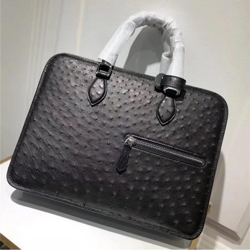 Estilo de negocios piel de avestruz genuino hombres maletín grande de cuero exótico hombre bolso de Trabajo Portátil bolso de mano largo cinturón bolso de hombro
