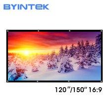 BYINTEK 120 אינץ 150 אינץ מאט לבן PVC רך מתקפל HD 1080P הקרנת קולנוע ביתי מקרן וידאו מסך 16:9 עם חורים