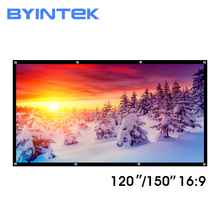 BYINTEK 120inch 150inch Matt white PVC Soft Foldable HD 1080P Home Theater Projection Projector Video Screen 16:9 with holes matte white soft fabric home theater 150inch 16 9 projection projector simple cinema screen with holes free shipping