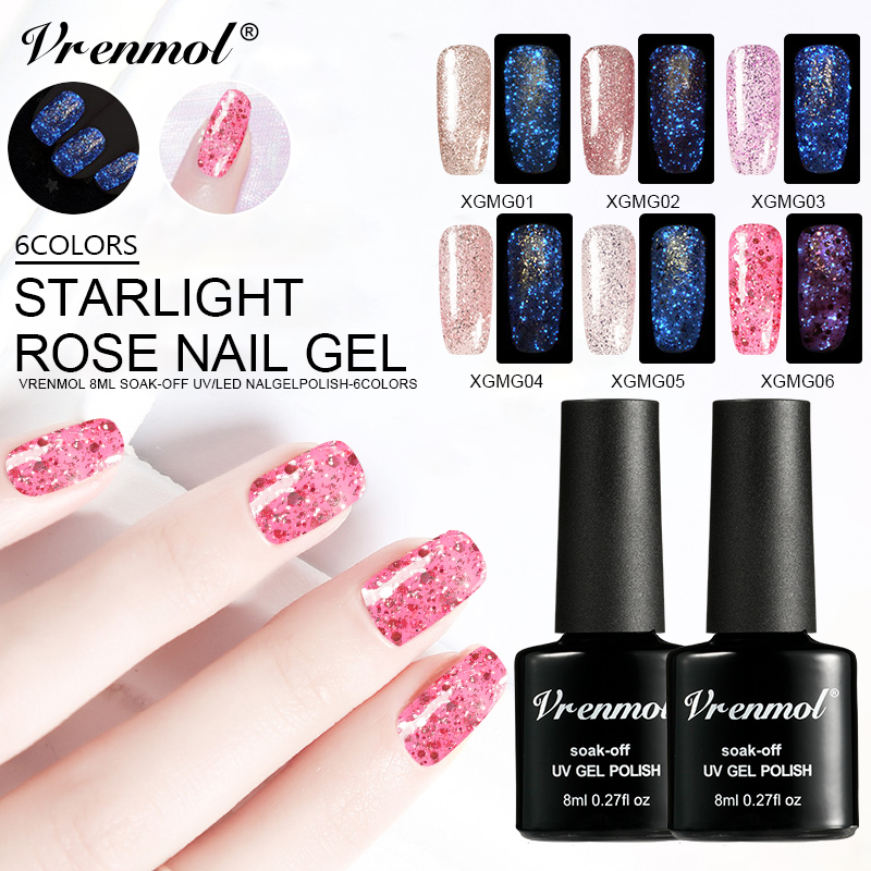 Vrenmol Luminous Fluorescent Nail Gel Polish Rose Gold