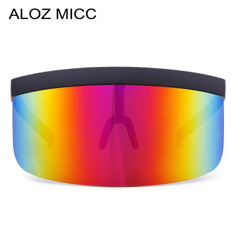 ALOZ MICC Women Oversize Shield Visor Sunglasses Women Retro Windproof Glasses Men Shield Visor Flat Top Hood Eyeglasses Q439